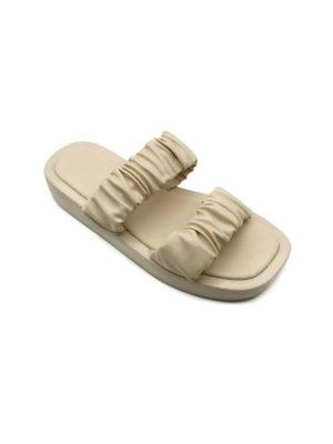 Beige Ruffle Twin Strap Mule Sandals