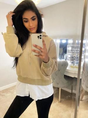 Beige Shirt Hoodie | Wardrobe Boutique Bacup