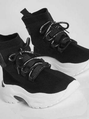 Black Lace Up Sock Trainer | Wardrobe Boutique Bacup