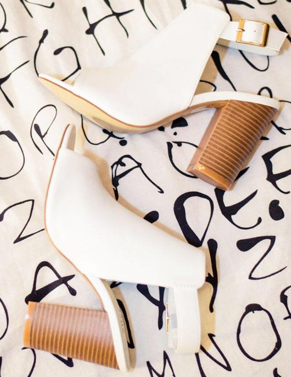 Brianna Peep Toe White Heels | Wardrobe Boutique Bacup