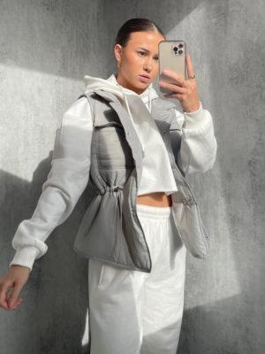 Grey Padded Toggle Gilet | Wardrobe Boutique Bacup