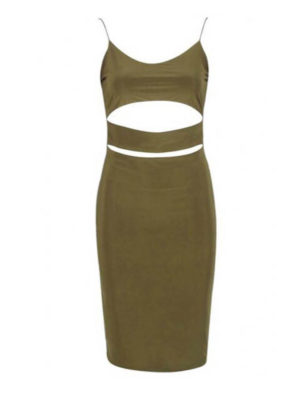 Khaki Cut Out Dress | Wardrobe Boutique Bacup