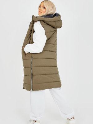 Olive Panel Padded Longline Gilet | Wardrobe Boutique Bacup