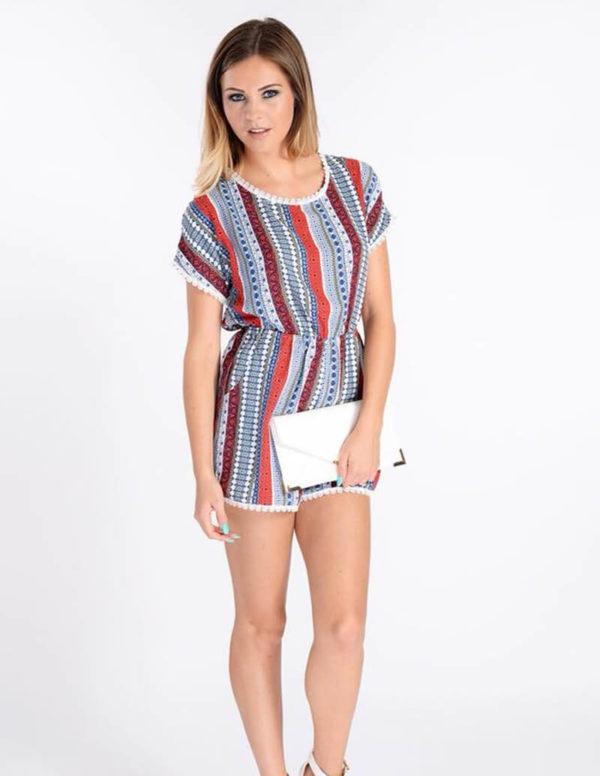 Paisley Stripe Playsuit | Wardrobe Boutique Bacup