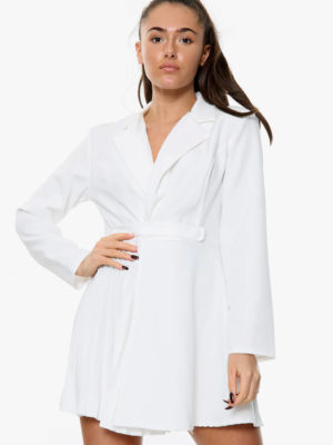 White Side Pleated Blazer Dress | Wardrobe Boutique Bacup