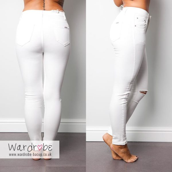 White Ripped Knee Jeans | Wardrobe Boutique Bacup