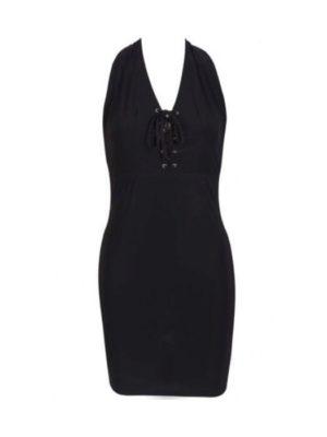 Lace up Halterneck Dress | Wardrobe Boutique Bacup