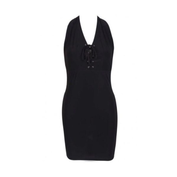 Lace up Halterneck Dress   Wardrobe Boutique Bacup